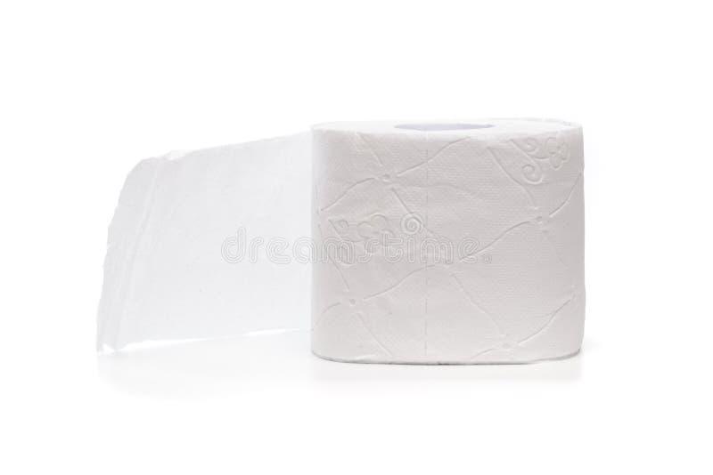 在白色背景或组织隔绝的卷手纸 免版税库存照片