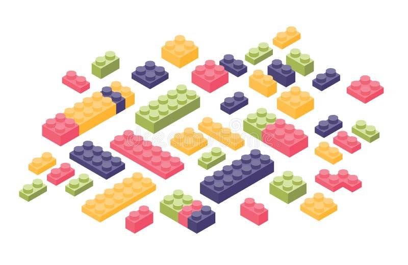 在白色背景或零件隔绝的捆绑等量五颜六色的建设者细节 塑料连结的玩具砖 皇族释放例证