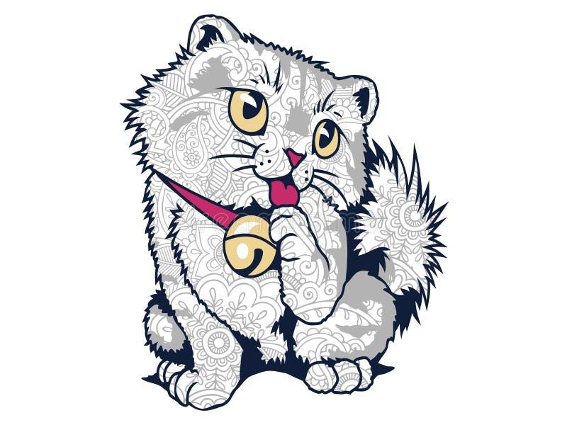 在白色背景手拉的猫乱画的被隔绝的滑稽的肥胖猫成人重音发行着色页的 免版税图库摄影