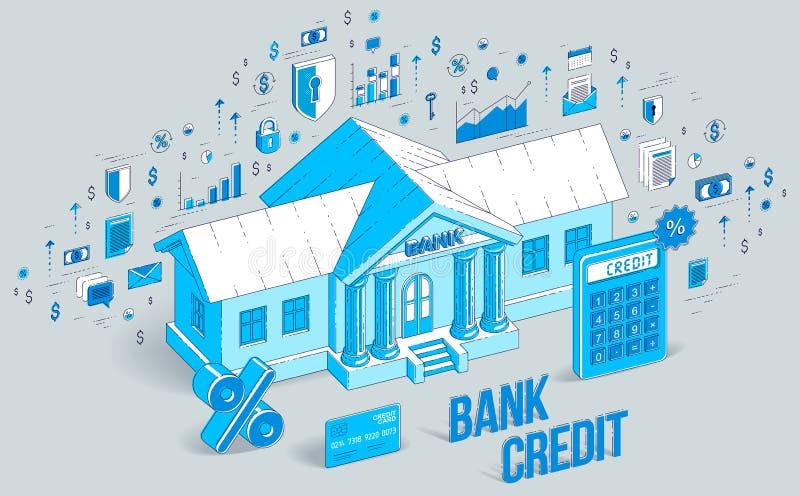 在白色背景把计算器归功于概念、银行大楼和百分之标志隔绝的,银行业务题材 3d传染媒介事务 皇族释放例证