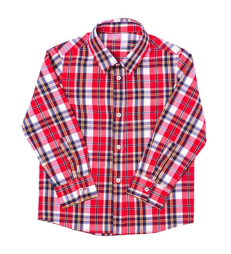 在白色背景折叠的红色格子呢衬衣 免版税库存图片