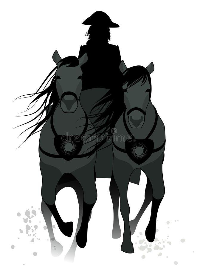 在白色背景拉扯了由两匹马和驾驶由马车夫佩带陈腐的隔绝的运输车剪影  向量例证