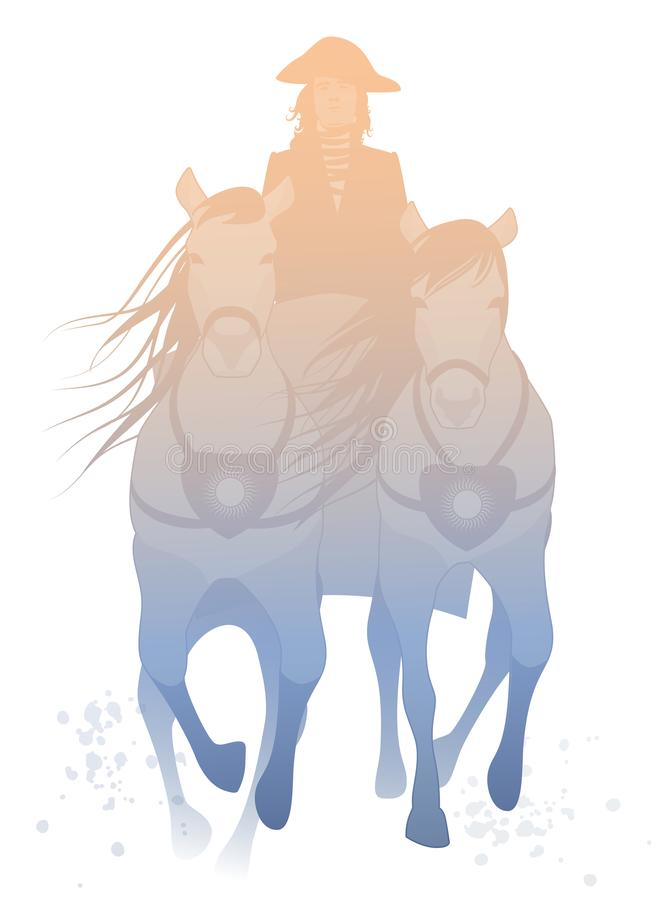 在白色背景拉扯了由两匹马和驾驶由马车夫佩带陈腐的隔绝的运输车剪影  库存例证