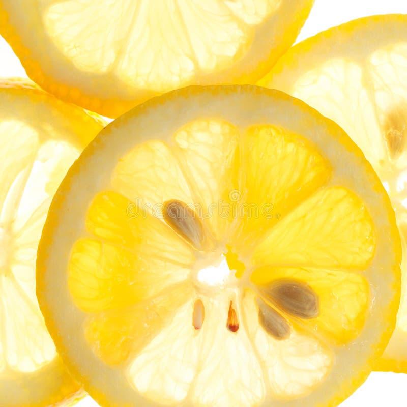 在白色背景新鲜的柠檬隔绝的切片 图库摄影