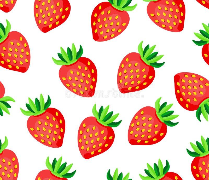 在白色背景无缝的传染媒介样式的甜野草莓 库存例证