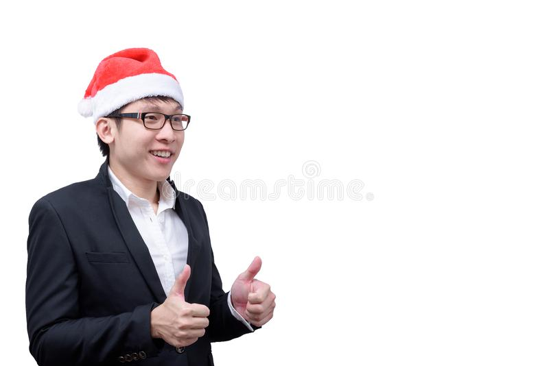 在白色背景有与圣诞节节日题材的拇指展示隔绝的商人 免版税库存图片