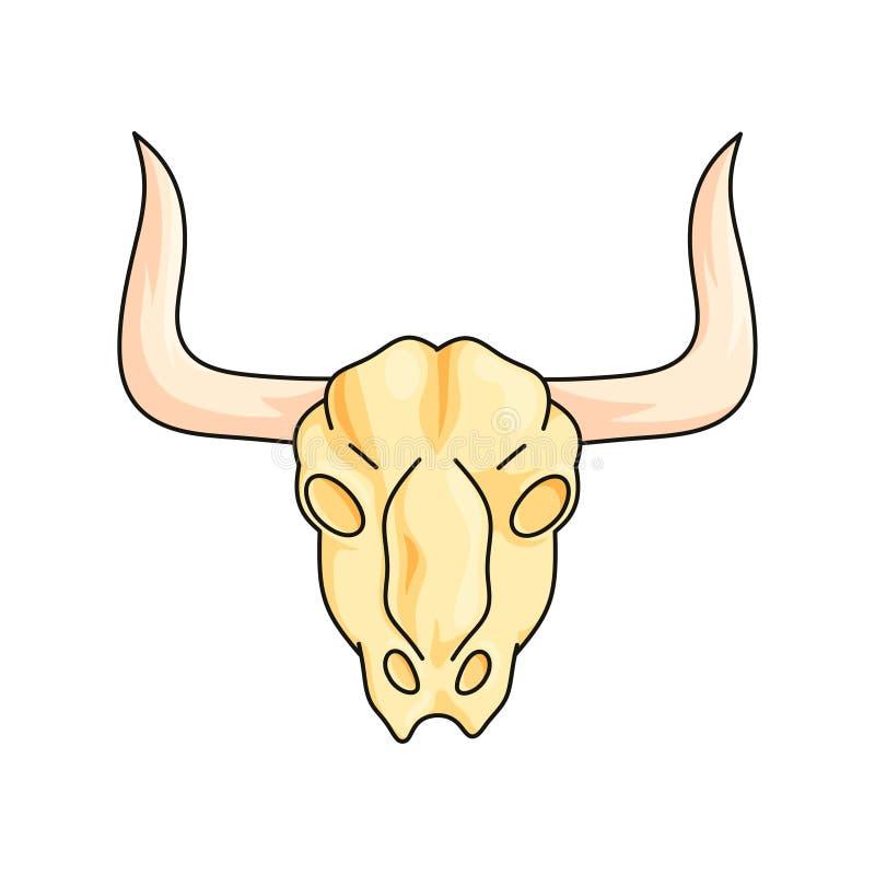 在白色背景有垫铁狂放的西部标志的山羊头骨隔绝的 库存例证