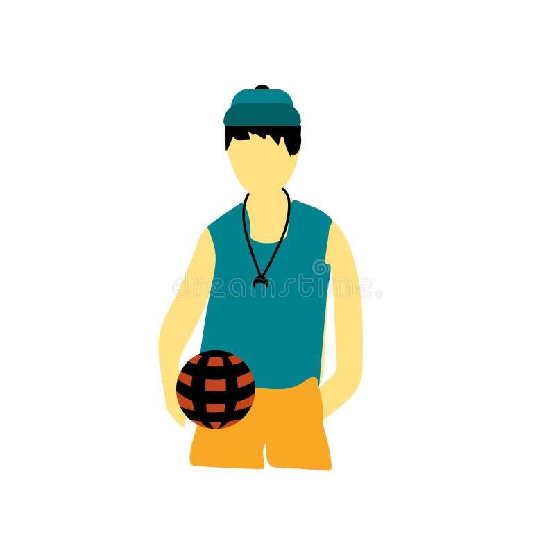 在白色背景有球传染媒介传染媒介标志和标志的年轻男孩隔绝的,有球传染媒介商标概念的年轻男孩 向量例证