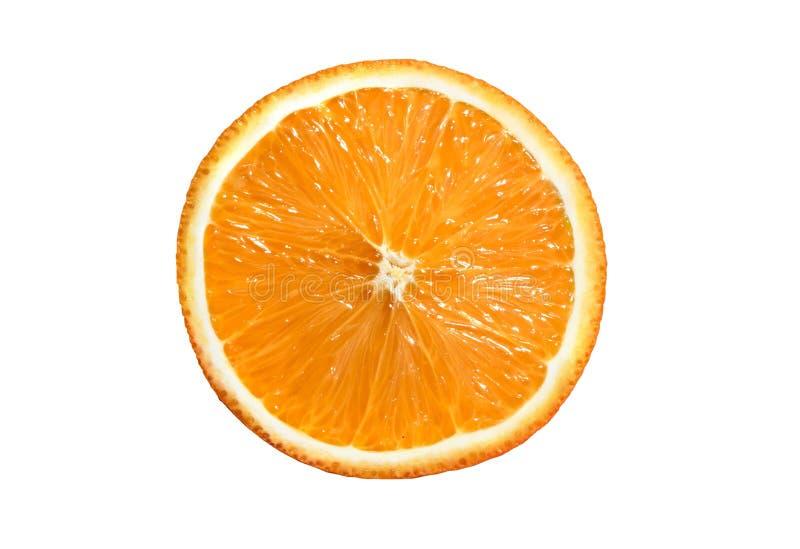 在白色背景橙色普通话隔绝的切片 库存照片