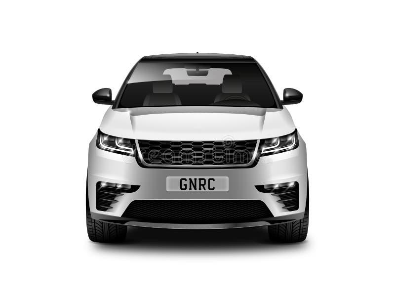 在白色背景正面图的白色金属普通SUV汽车与被隔绝的道路 库存例证