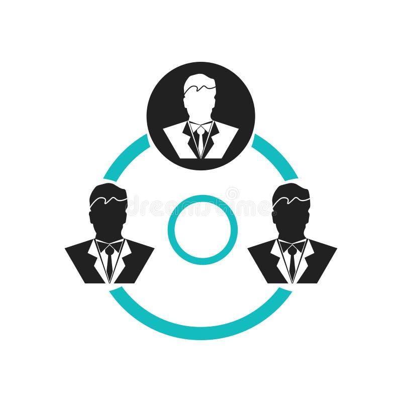 在白色背景流程图象传染媒介标志和标志的被联络的用户隔绝的,流程图商标概念的被联络的用户 向量例证