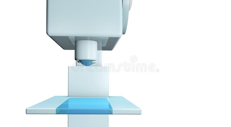 在白色背景特写镜头的科学显微镜 库存例证