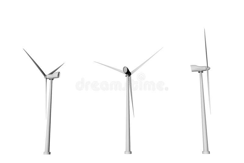 在白色背景用不同的自转角度底视图的三台风车隔绝的-风力工业例证,3D 皇族释放例证