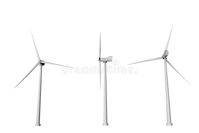在白色背景用不同的自转角度底视图的三台风车隔绝的-风力工业例证,3D 向量例证