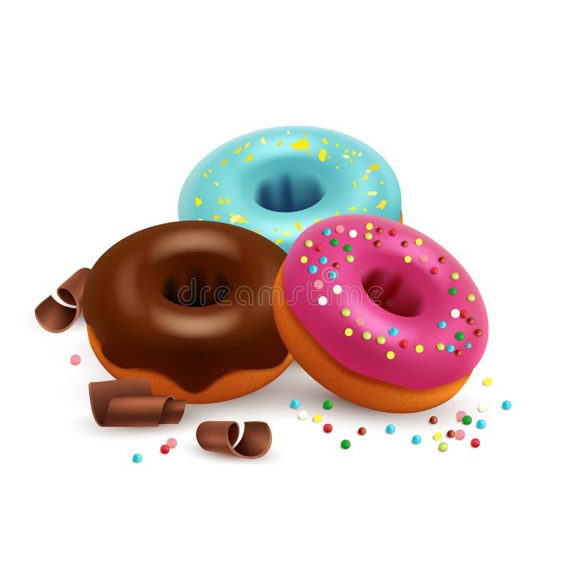 在白色背景用五颜六色的糖果和巧克力传染媒介隔绝的给上釉的油炸圈饼 向量例证