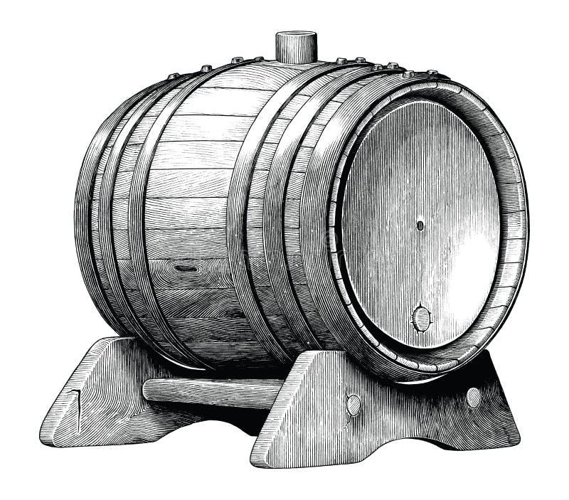 在白色背景画黑白剪贴美术隔绝的橡木桶手的古色古香的刻记的例证,酒客 向量例证