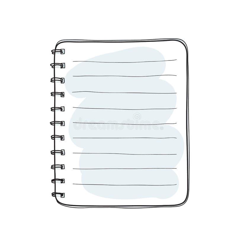 在白色背景白纸盖子传染媒介的手拉的笔记本 向量例证