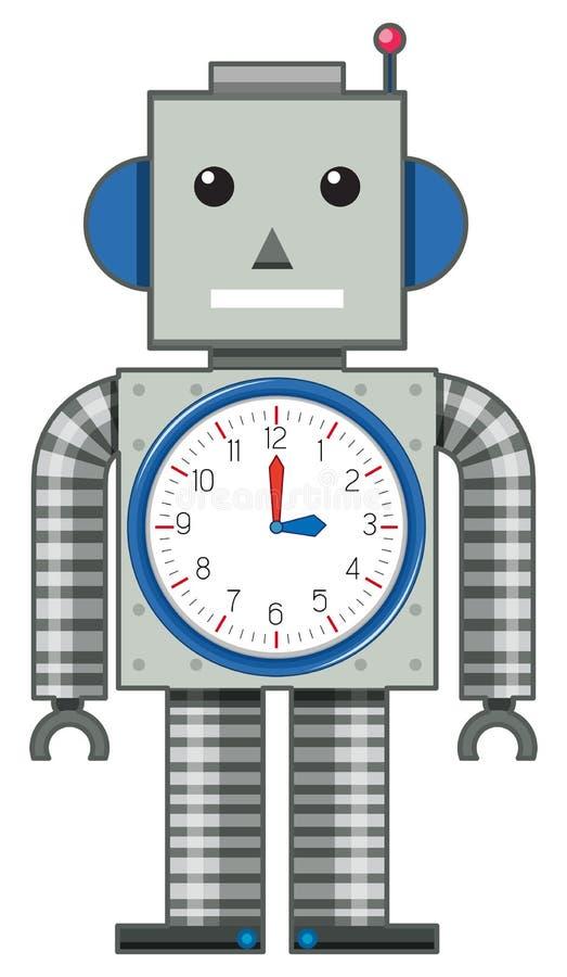 在白色背景的一个机器人玩具 向量例证