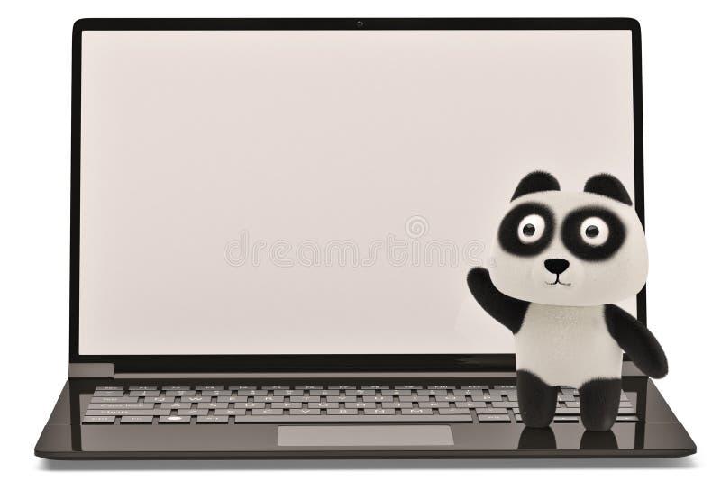 在白色背景的一只膝上型计算机和动画片熊猫 3d例证 向量例证