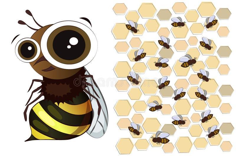 在白色背景的一只逗人喜爱的动画片蜂 蜂群和honeycom 向量例证