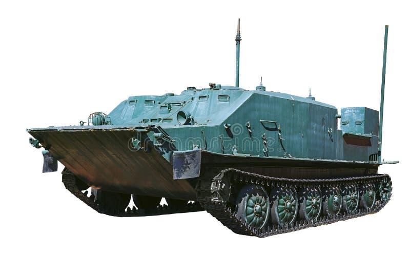 在白色背景的一辆装甲的军车 图库摄影