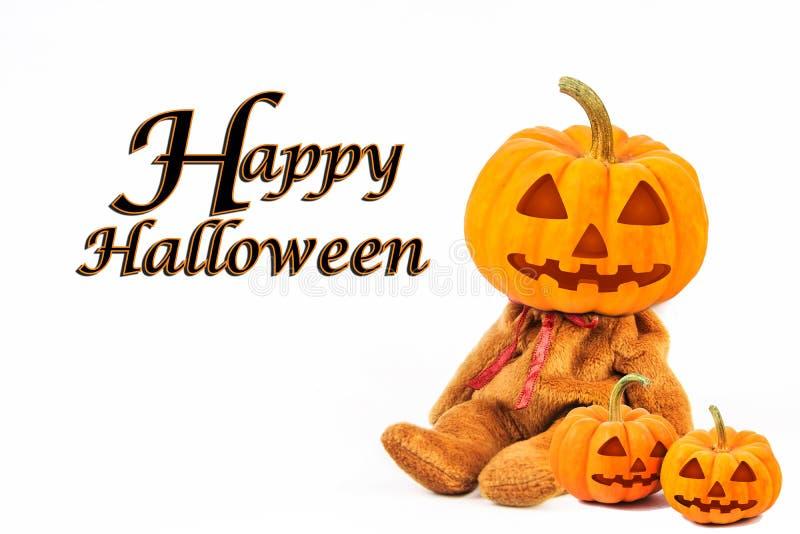 在白色背景的万圣夜南瓜与消息& x27; 愉快的Halloween& x27; 免版税库存图片