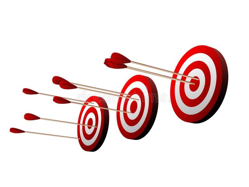 在白色背景的三个美好的现实红色和白色射箭目标 皇族释放例证