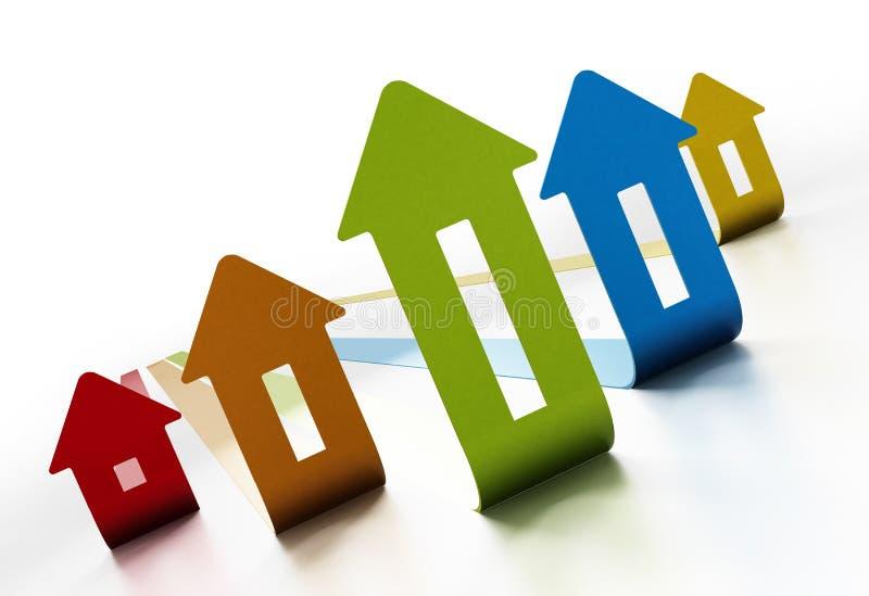 在白色背景的上升的房价图 3d例证 向量例证
