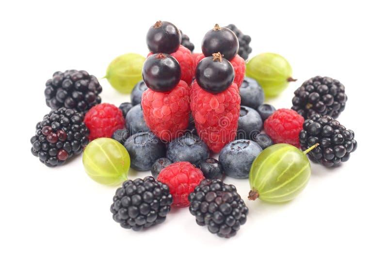 在白色背景的不同的莓果 健康新鲜蔬菜和食物 库存图片