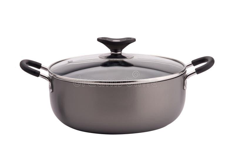 在白色背景的不粘锅的汤锅 免版税库存照片