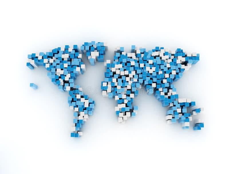 在白色背景的世界地图数字式立方体 库存例证
