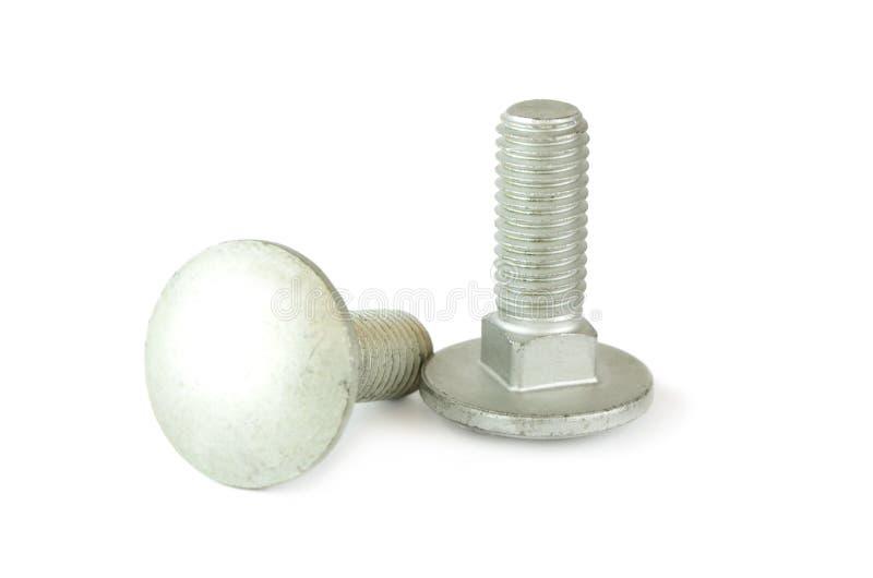 在白色背景的两个螺栓。 免版税库存照片
