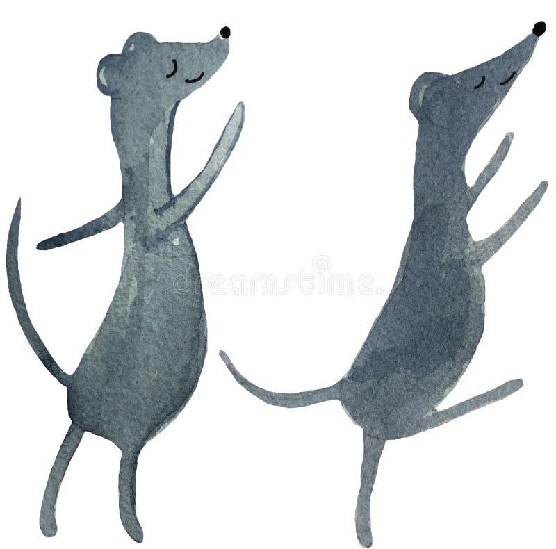 在白色背景的两只跳舞的动画片鼠 海报,印刷品,卡片,杂志设计的水彩例证  免版税库存照片