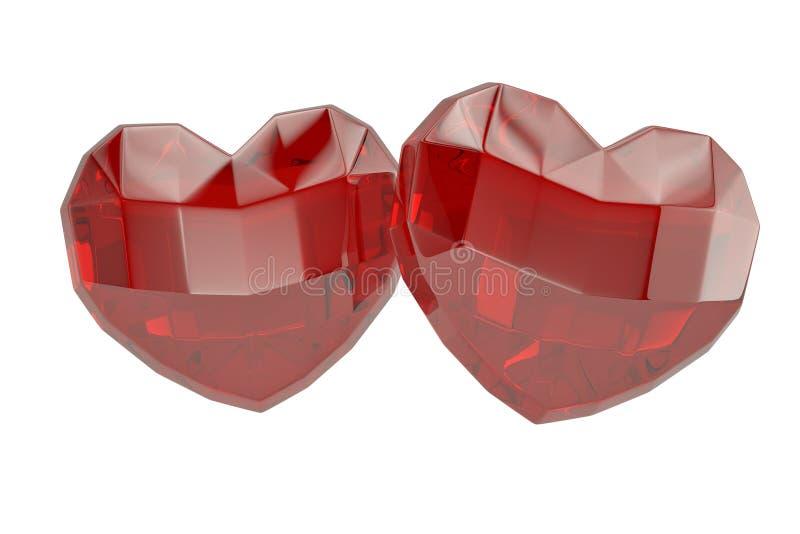 在白色背景的两心脏红宝石 3d例证 向量例证