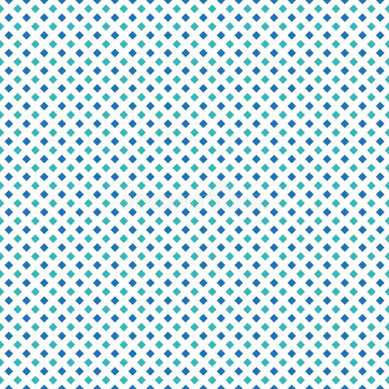 在白色背景的五颜六色的无缝的蓝色&水色绿色对角方形框 皇族释放例证