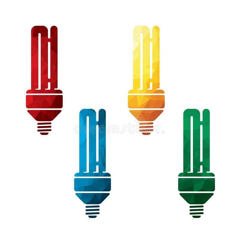 在白色背景的五颜六色的节能电灯泡象 被隔绝的经济灯象 EPS8 皇族释放例证