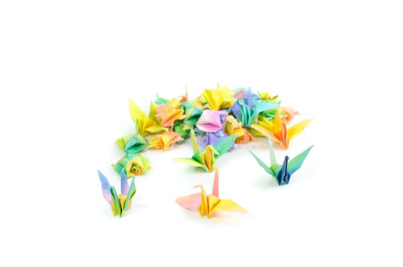 在白色背景的五颜六色的origami 库存图片