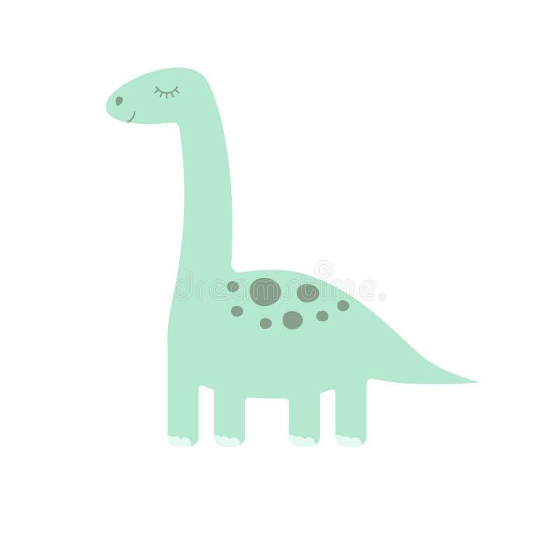 在白色背景的传染媒介平的动画片逗人喜爱的薄荷的恐龙梁龙 皇族释放例证