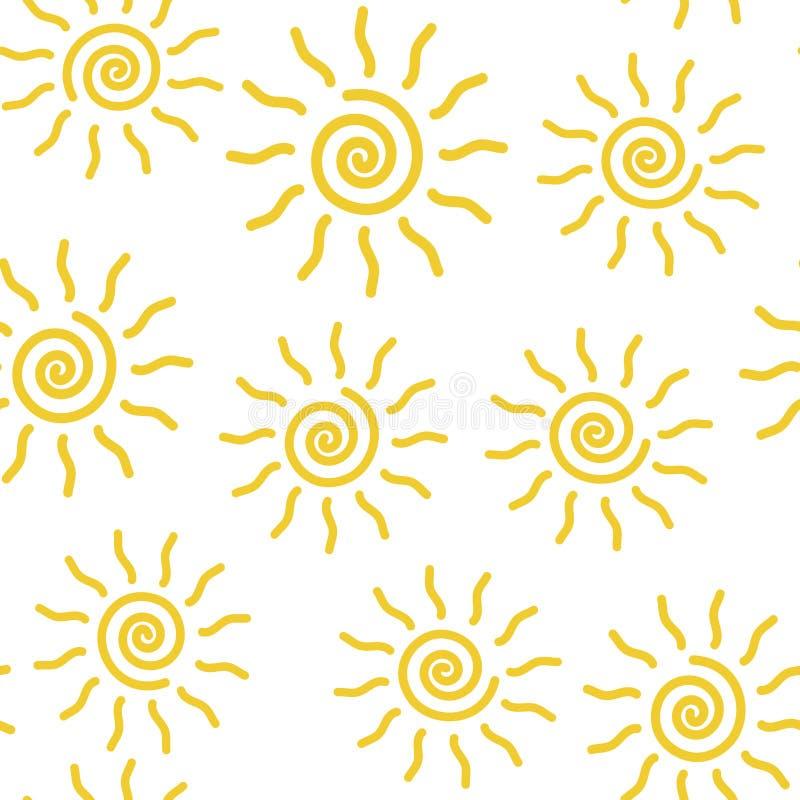 在白色背景的传染媒介象太阳无缝的样式   库存例证