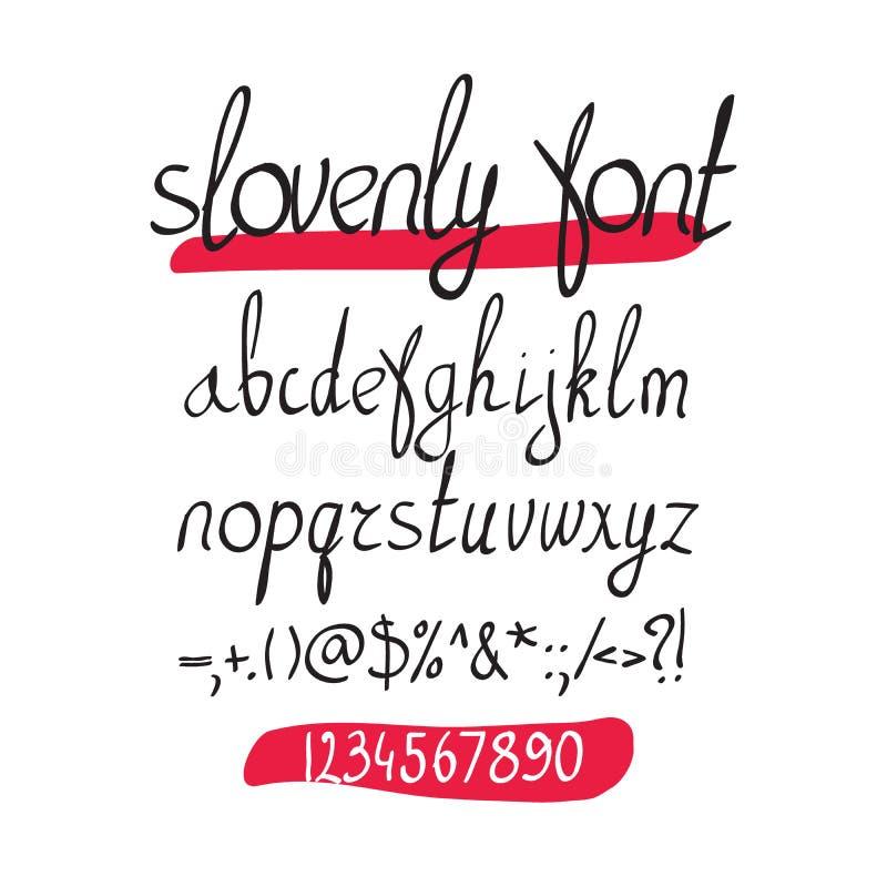 在白色背景的传染媒介手写的刷子字母表 库存例证