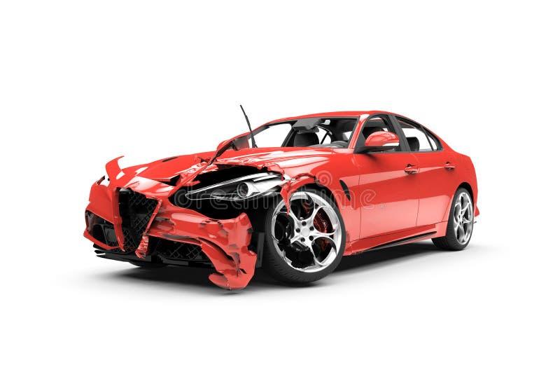 在白色背景的侧向红色车祸 库存例证