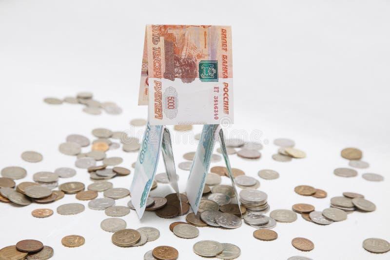 在白色背景的俄国金钱 免版税库存照片