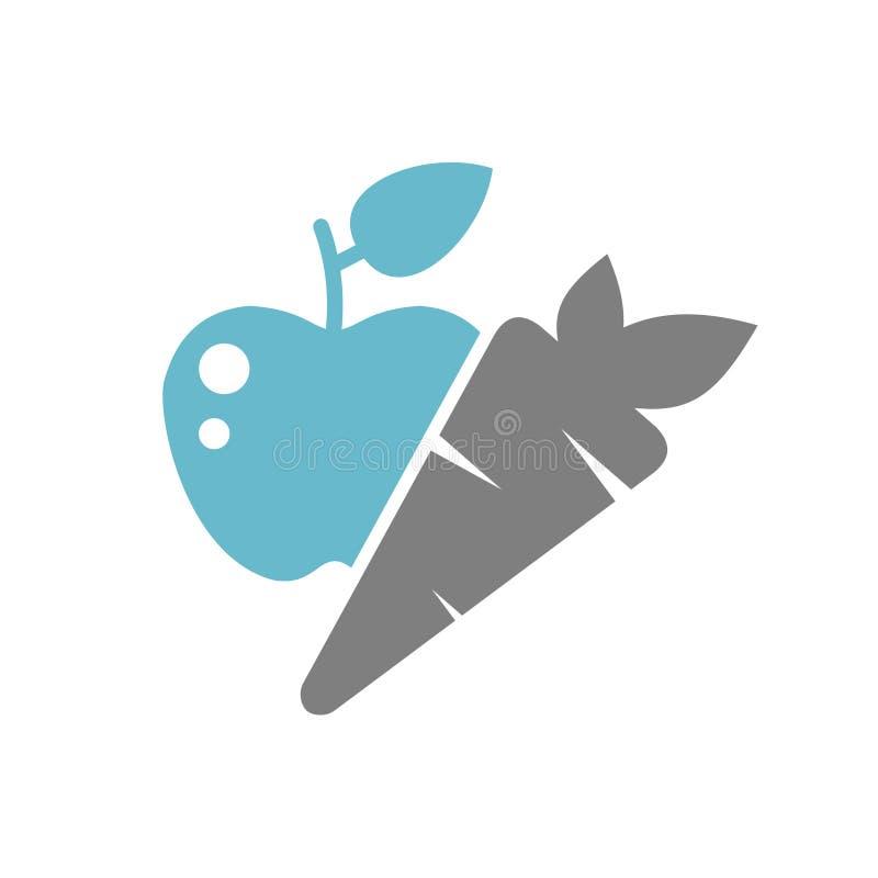 在白色背景的健康食品象图表和网络设计的,现代简单的传染媒介标志 背景蓝色颜色概念互联网 时髦标志为 皇族释放例证