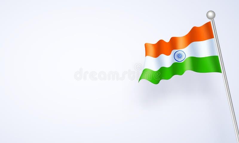在白色背景的光滑的波浪印度旗子 皇族释放例证