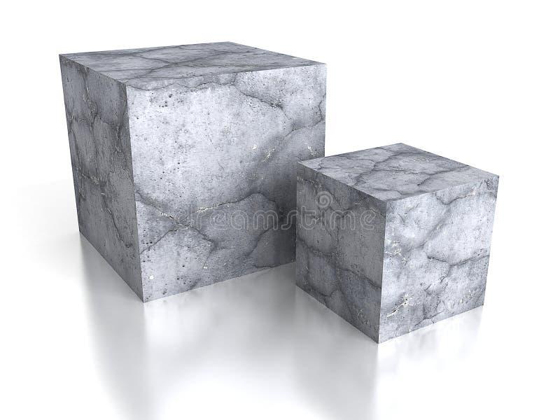 在白色背景的具体立方体砖块与反射 库存例证