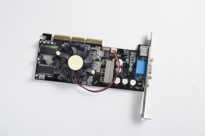 在白色背景的减速火箭的显示卡 抽象背景计算机分开乌贼属口气 图库摄影