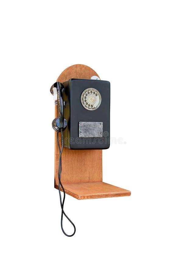 在白色背景的减速火箭的转台式老电话 库存图片