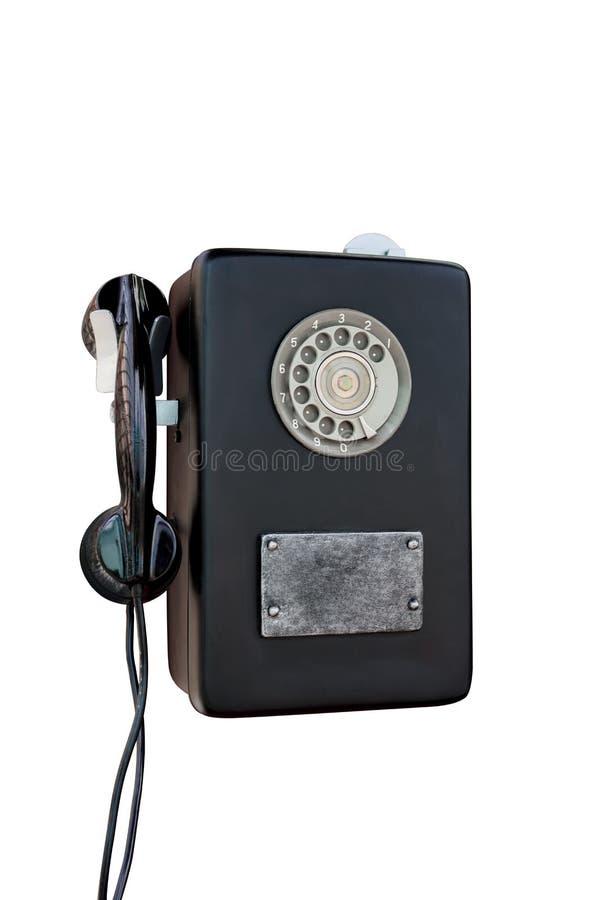 在白色背景的减速火箭的转台式老电话 库存照片