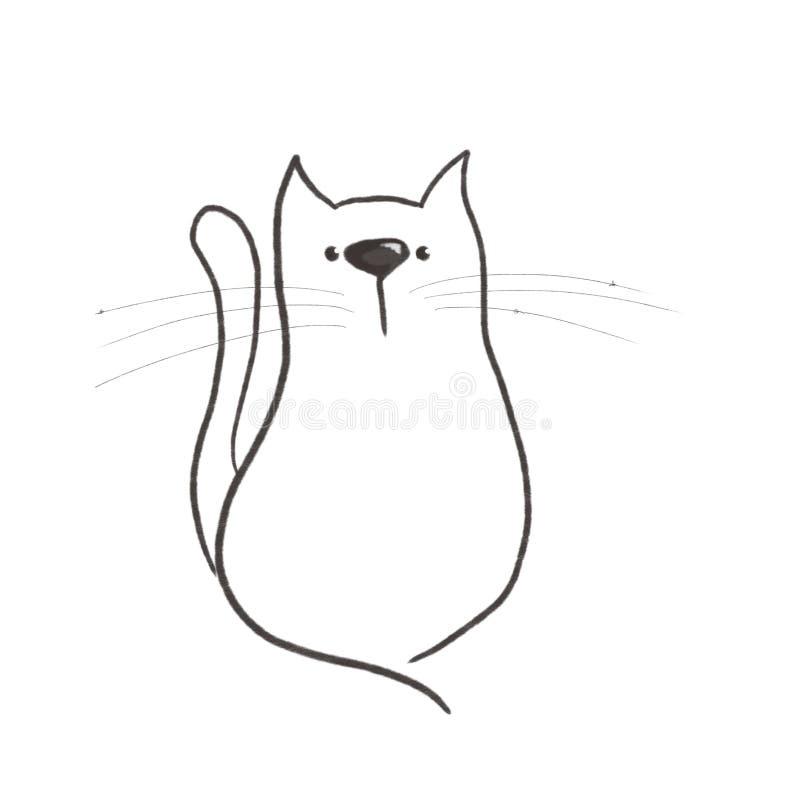 在白色背景的剪影逗人喜爱的猫 库存例证