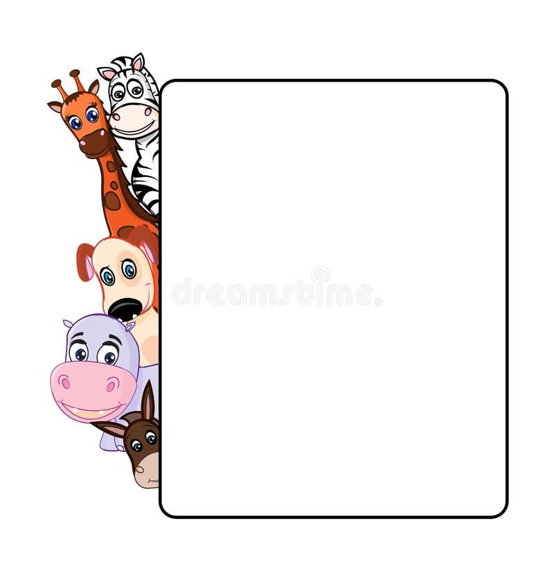 在白色背景的动物与框架 库存照片